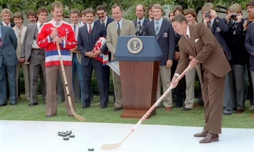 9/29/83: At a Rose Garden ceremony, Rod Langway & teammates, and the U.S. Olympic hockey team (Book pg. 169)