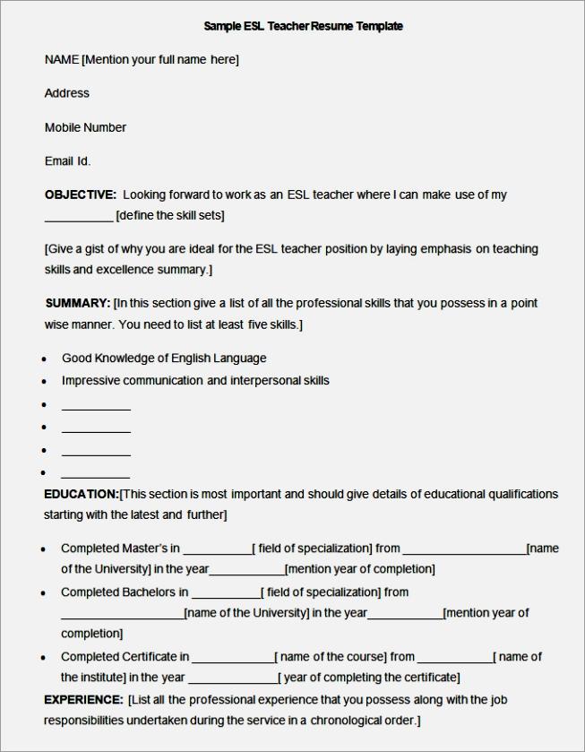 esl teacher resume template - Esl Teacher Resume Sample