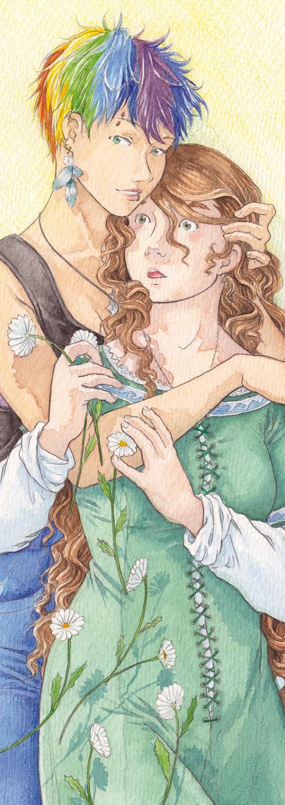 détail aquarelle illustration yuri - fleur des champs et serpent à plumes
