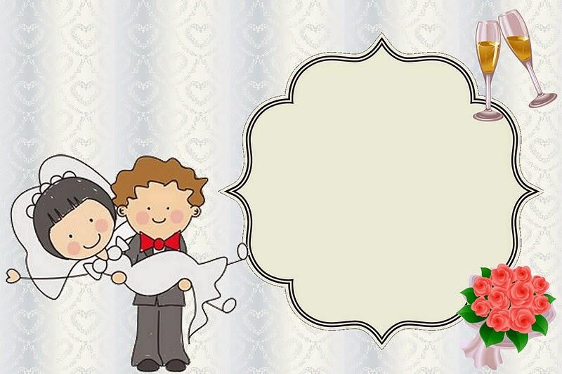 para hacer invitaciones tarjetas marcos de fotos o etiquetas de caricatura de novios para imprimir gratis