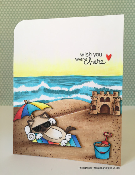 Summer beach Kitty card by Tatiana | Newton's Summer Vacation stamp set by Newton's Nook Designs