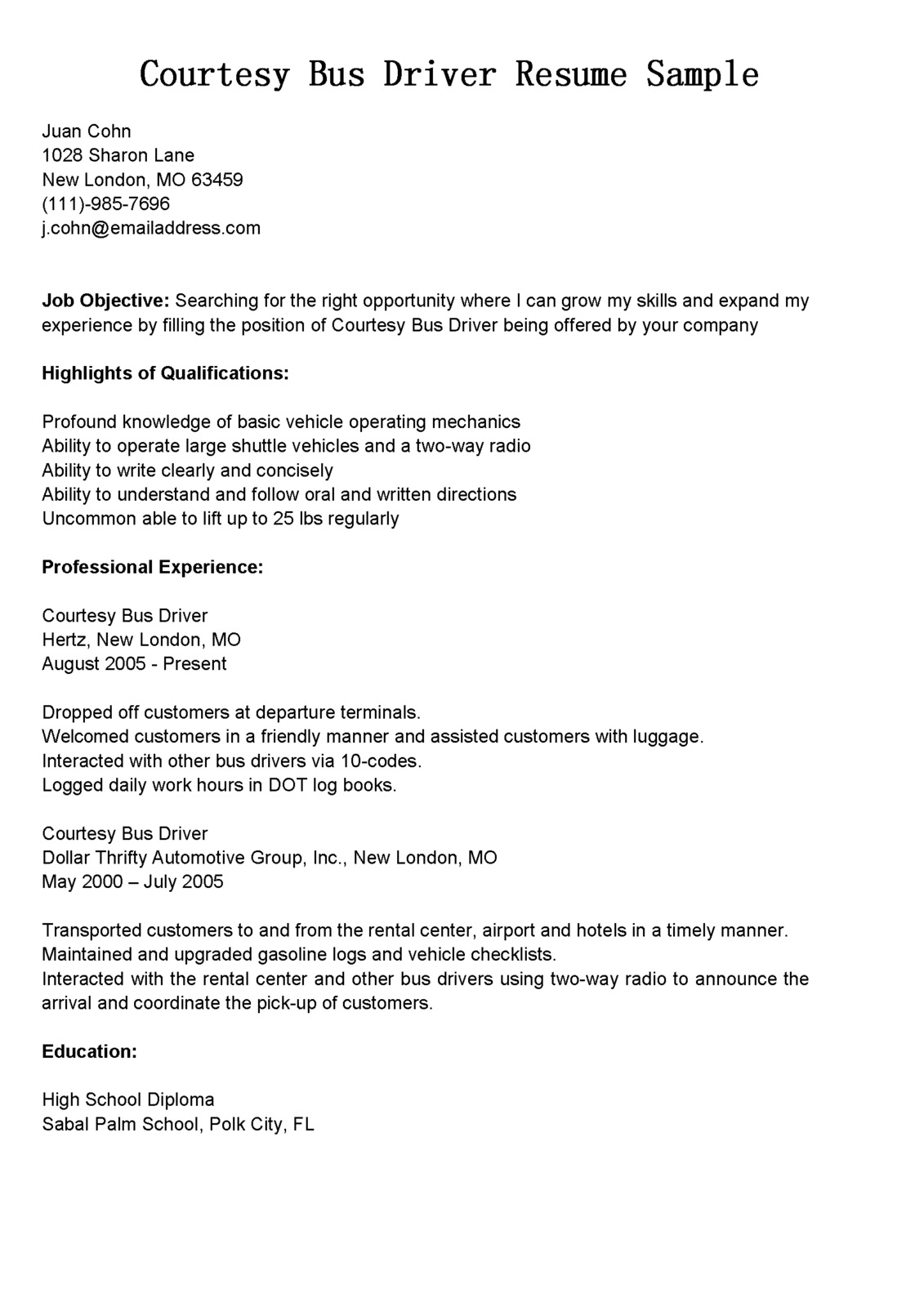 Cdl Resume Objective Examples Driver Resumes Courtesy Bus Driver Resume Sample