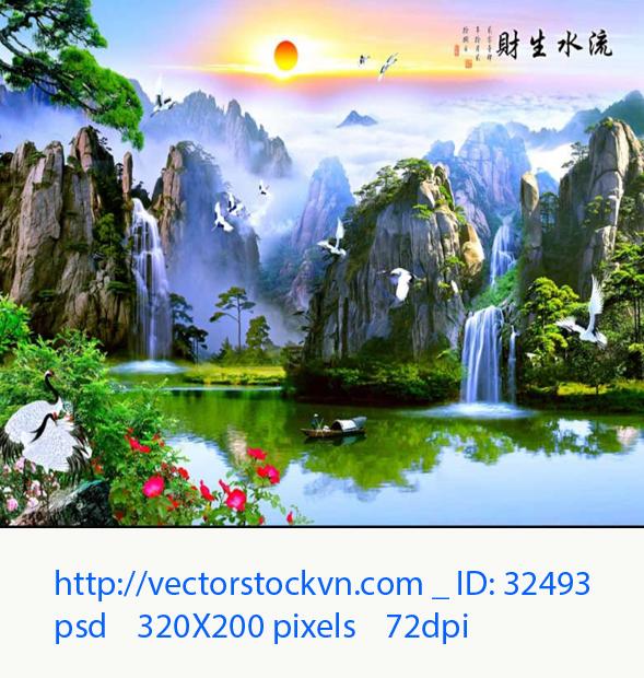 Vector tranh phong cảnh.