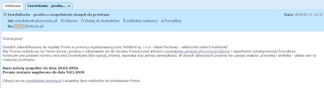Mail do uczestników promocji EnveloBanku z premią 100 zł