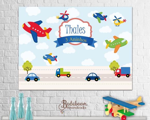 Meios de Transporte, painel, arte digital, arte personalizada, festa infantil,arquivo digital, avião, carrinho, caminhão, helicoptero