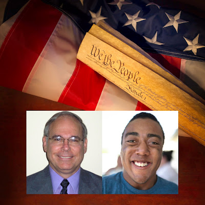 Photo images of winners keyed in front of image of American flag and U.S. Constitution