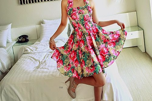Dress, Fashion, Flowers, Girl, Glamour