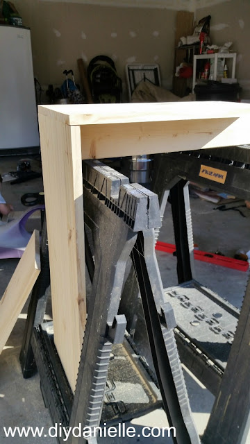 Attaching wood together at a 90 degree angle for the desk.