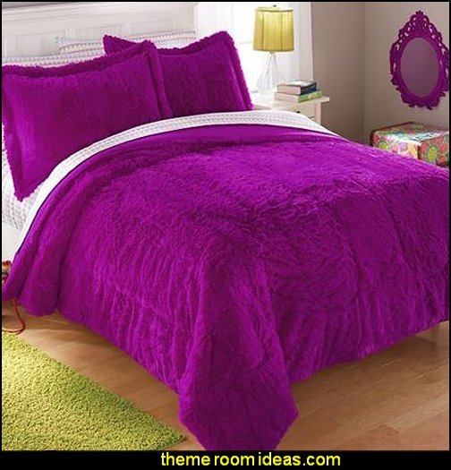 Your Zone Long Fur Bedding Comforter Set Black