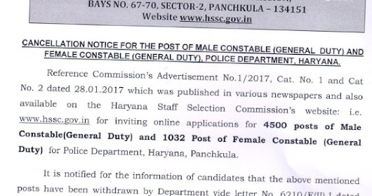 HSSC Constable SI Bharti Cancelled