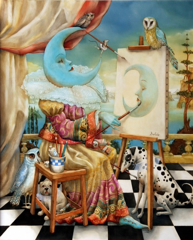 01-Autoportrait-Lunatique-Agnes-Boulloche-Paintings-that-Spill-over-into-the-World-of-Surrealism-www-designstack-co