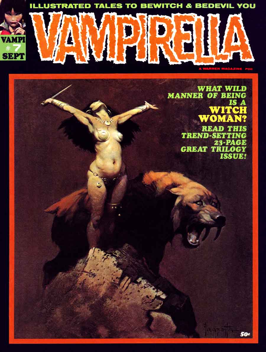 Vampirella v1 #7 warren magazine cover art by Frank Frazetta
