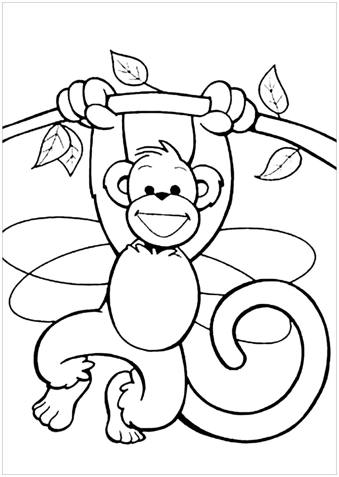 Tranh tô màu con khỉ đang đu cây