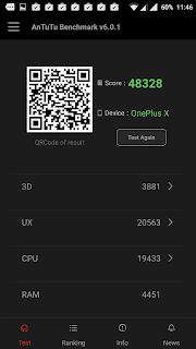 OnePlus X - Skor hasil Antutu Benchmark