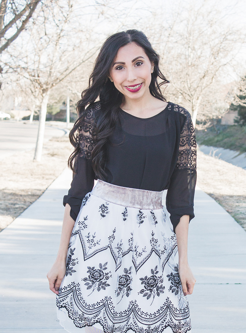black lace top with tulle skirt outfit