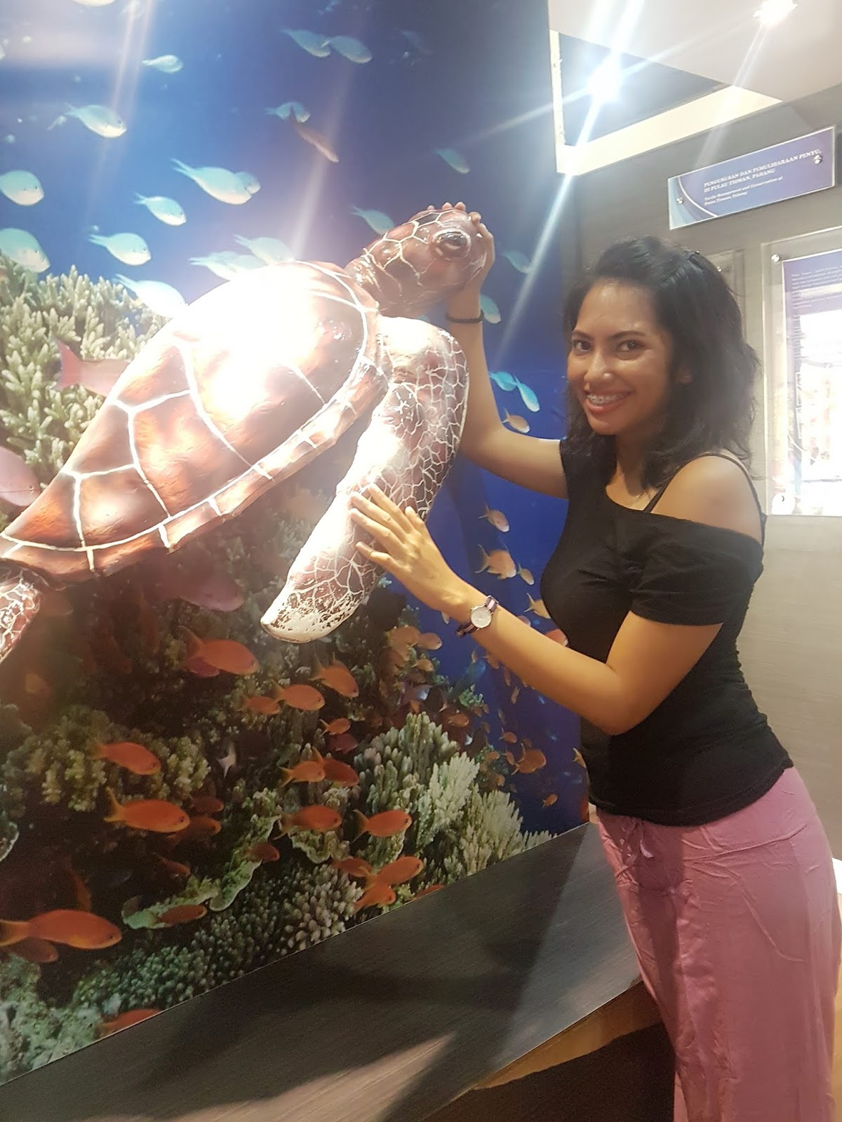 Me with a turtle replica in Cherating Turtle Sanctuary | Ummi Goes Where?
