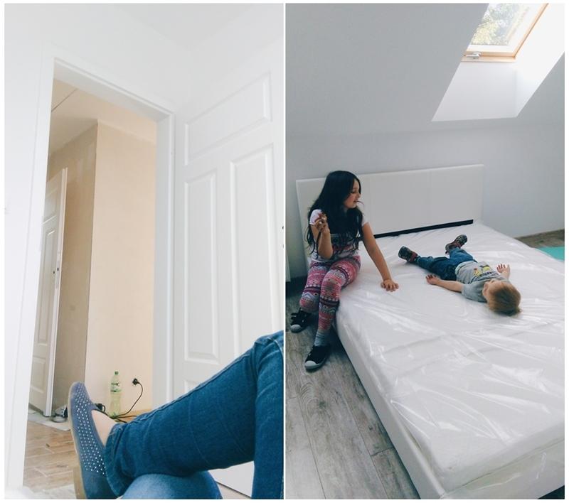 sypialnia z garderobą, białe łóżko eko skóra, jasna sypialnia, sypialnia na poddaszu, drzwi polskone fiord 00