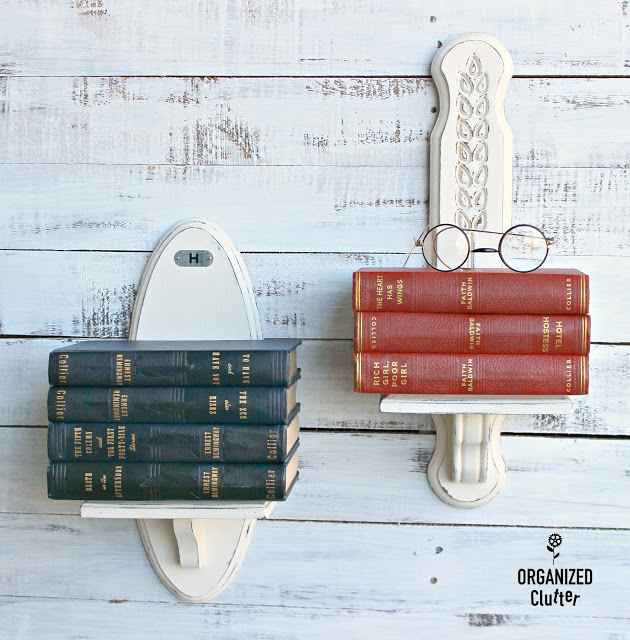 Thrifted Sconces Repurposed as Wall Book Shelves