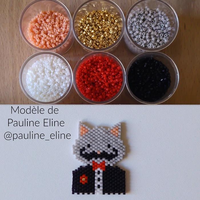 chat sylvestre costume pauline eline, tissage brickstitch, perles delicas miyuki, hellocestmarine