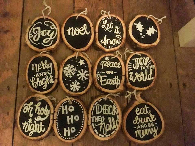 Christmas decorations made from log slices