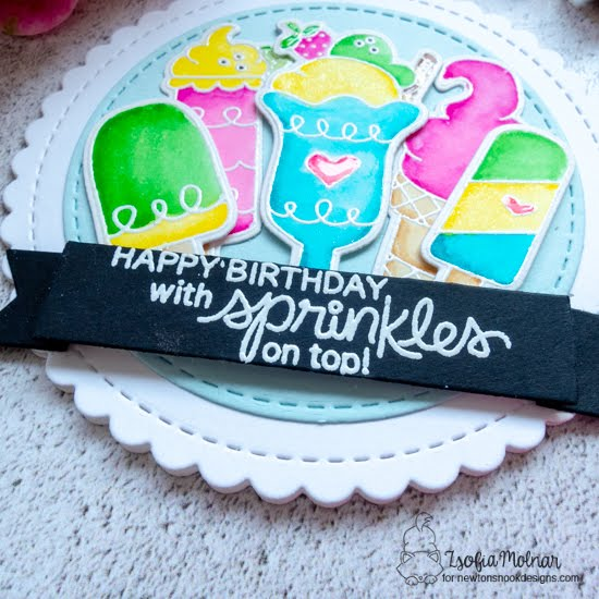 Happy Birthday with Sprinkles on Top Card by Zsofia Molnar | Summer Scoops Stamp Set, Circle Frames Die Set and Banner Trio Die Set by Newton's Nook Designs #newtonsnook #handmade