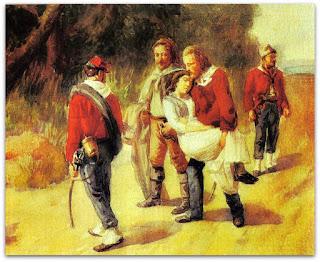 'Garibaldi e Anita, Ferida, Fogem de San Marino' - Quadro Anônimo de 1849