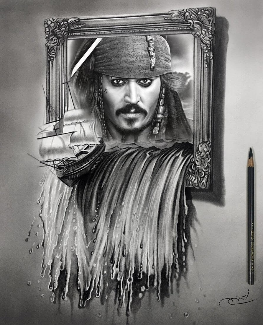 05-Johnny-Depp-Aymanarts-Realistic-3D-Illusion-Portrait-Drawings-www-designstack-co