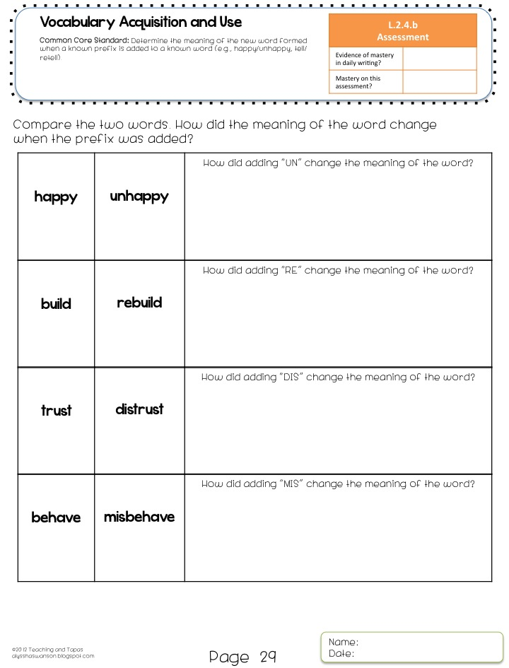 2nd Grade Common Core Language Assessment | Teaching and Tapas