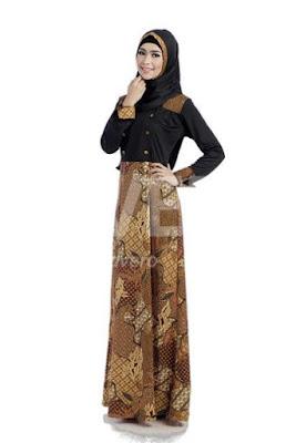 Model Gamis Batik Kombinasi Polos untuk remaja