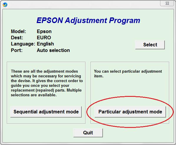 hacer clic en particular adjustment mode para empezar proceso