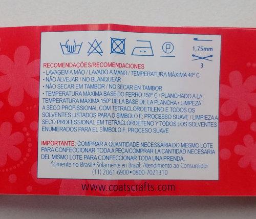 Instruções Lavagem Crochê Tricô 100% algodão