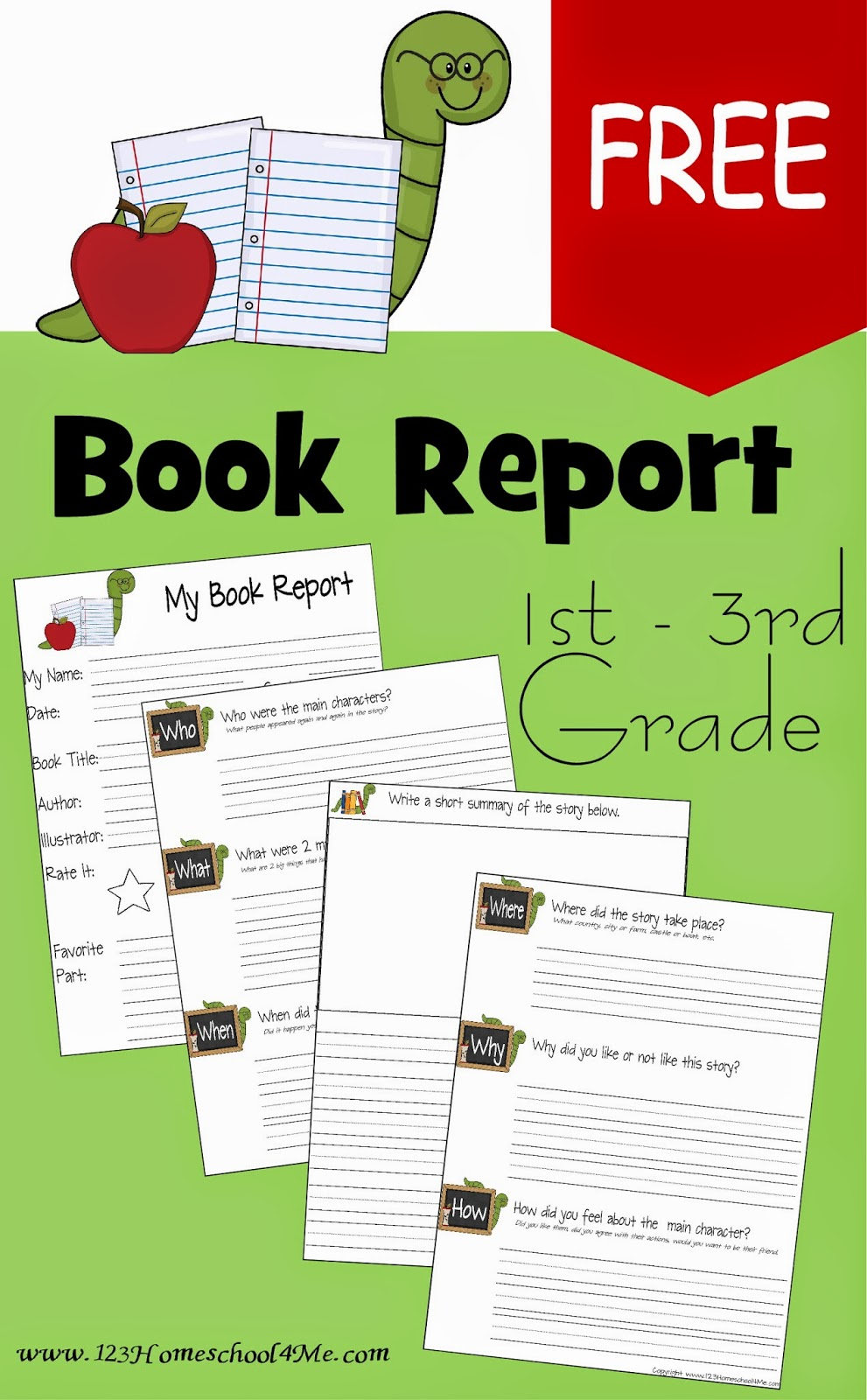 Book Report Worksheets For 2nd Grade [ 1600 x 991 Pixel ]