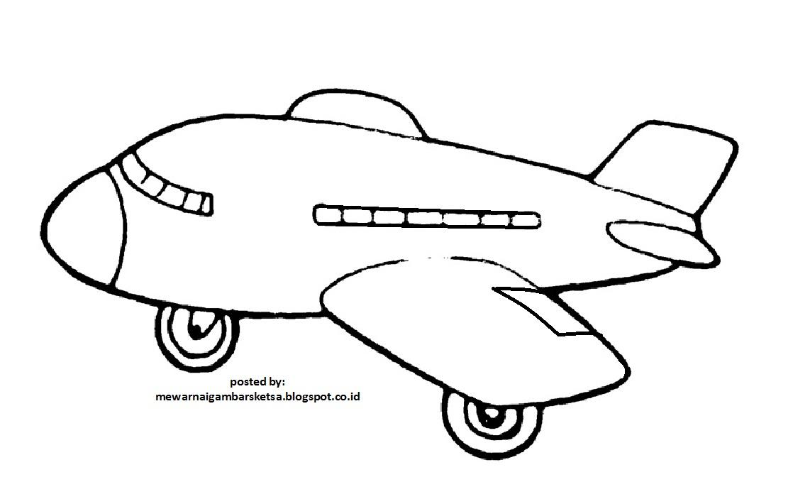 Mewarnai Gambar Sketsa Pesawat 2