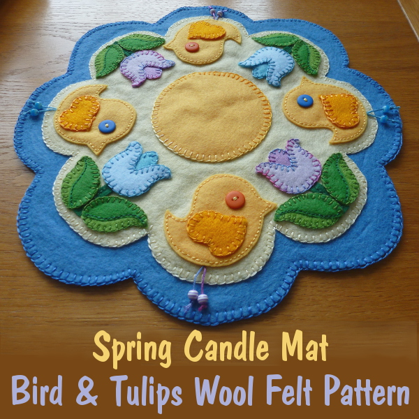 Cheerful Spring Candle Mat Pattern Decorated with Birds and Tulip Flowers Wool Felt Sewing Craft for Adults