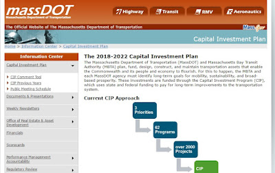 screen grab of MassDOT Capital Investment Plan