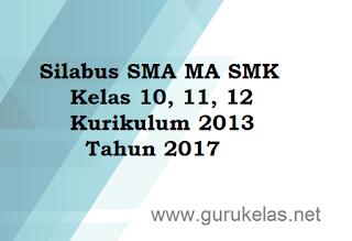 Silabus SMA MA SMK Kelas 10, 11, 12 Kurikulum 2013 Tahun 2017