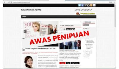 Hati-Hati Situs Penipuan Pengangkatan CPNS rahasiasuksesjadipns.blogspot.co.id