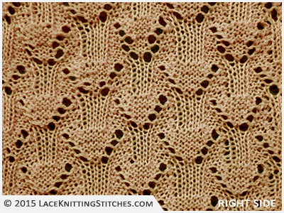 #LACE KNITTING No.8 |  Eyelet Diamonds stitch - Right side
