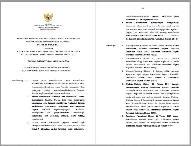 PERMENPANRB Nomor 22 Tahun 2018 Tentang Penerimaan Mahasiswa-MahasiswiTaruna-Taruni Sekolah Kedinasan pada KementerianLembaga Tahun 2018