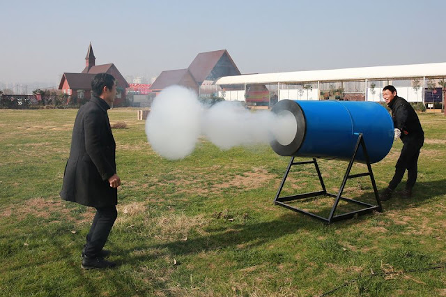 'Smog cannon' to raise awareness about environment protection