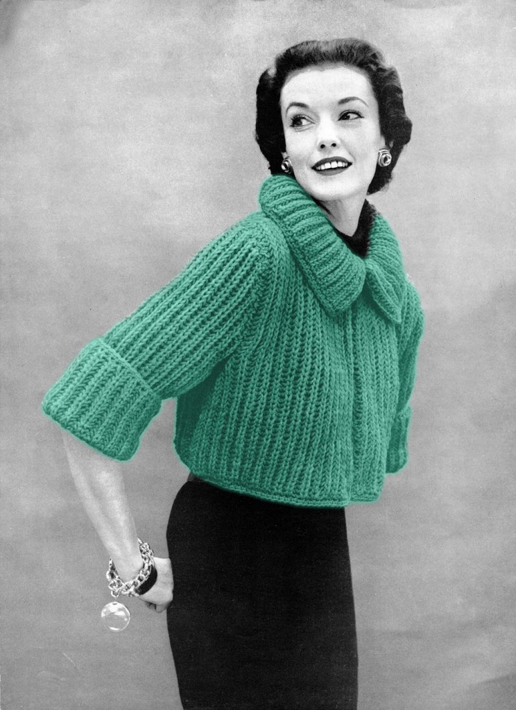 The Vintage Pattern Files 1950s Knitting Chunky Knit Bolero Sweater