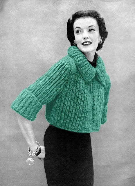 Free Knitting Pattern Chunky Wool Cardigan : The Vintage Pattern Files: 1950s Knitting - Chunky Knit Bolero Sweater