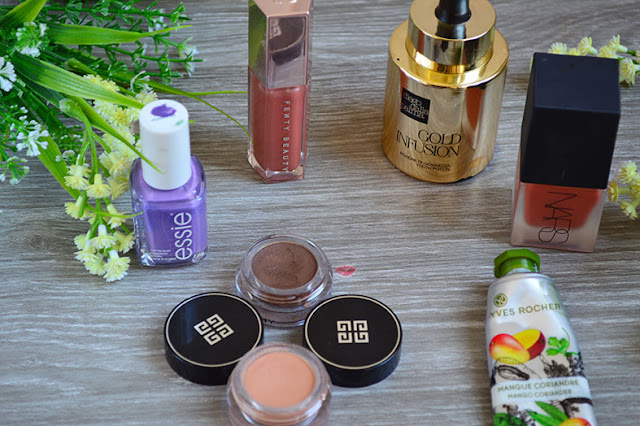 Gold Infusion diego dalla palma, hot tin roof nars, ombre couture givenchy, gloos bomb fenty glow, essie shades on