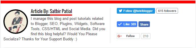 author box widget for blogger, author bio widget for blogger, how to add author bio in blogger