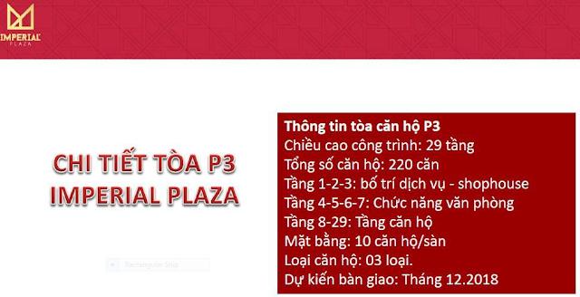 Chi tiết tòa IP3 chung cư Imperial Plaza