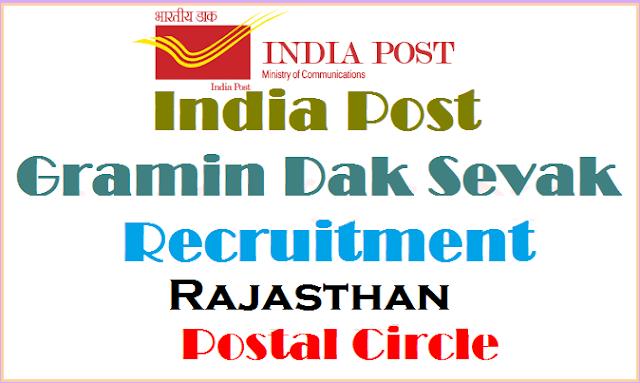 India Post,Rajasthan Postal Circle,Gramin Dak Sevaks(GDS) Recruitment 2017