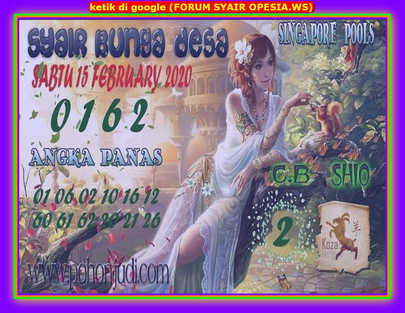 Kode syair Singapore Sabtu 15 Februari 2020 123