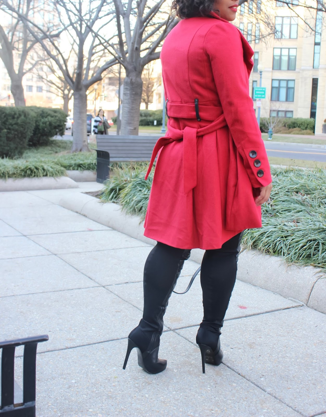 statement coat, red coat, pea coat, houndstooth print, winter coat