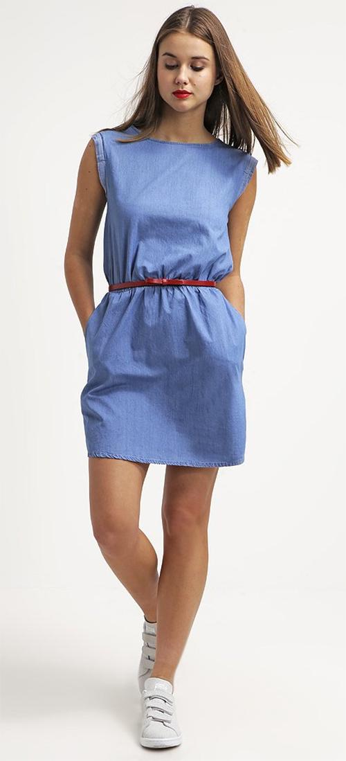 Robe courte sans manches en jean bleu Sparkz