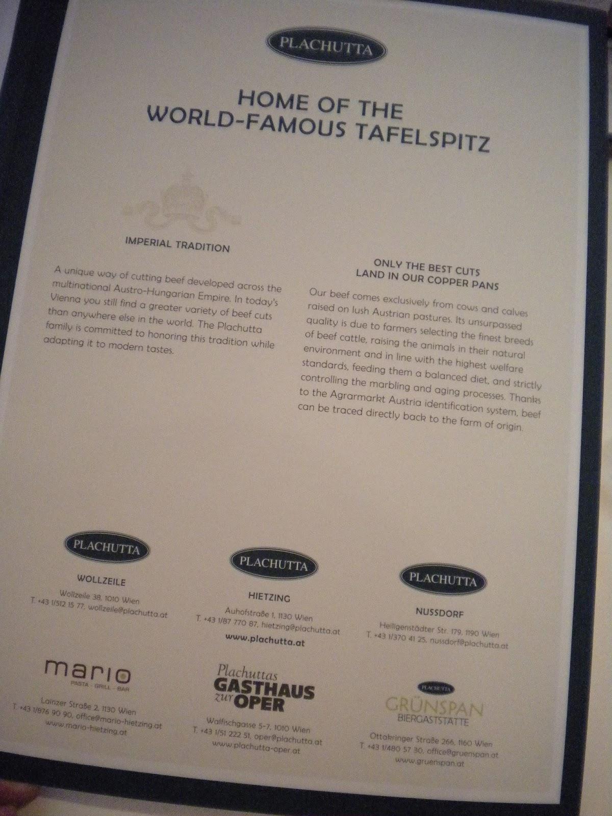 Mallaspulla matkailee Plachutta Tafelspitz Wien Itävalta